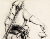 """Pirate, Charcoal Pencil Free Style Figure Drawing Archival Giclee Print, 8""""x10"""""""