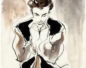 "Modern Style Fashion Illustration Art Giclee Print--ORLANDO, 5"" x 7"""