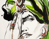 """Poster Size Modern Art, Fashion Illustration Limited-Edition Reproduction Giclee Print -- RENDEZVOUS, 13"""" X 19"""""""