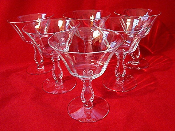 1950s Fostoria Glass Crystal Dessert Champagne Sherbet Stemmed Glasses Set of 6