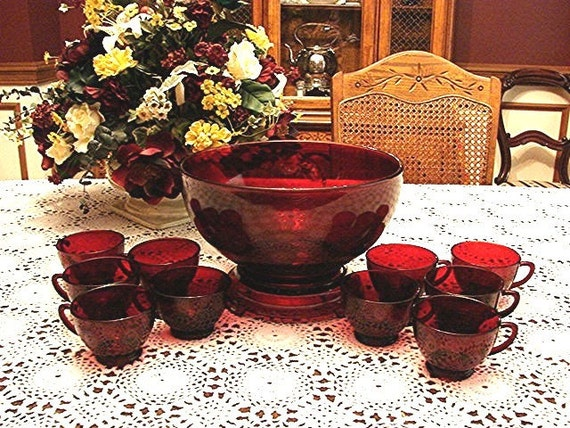 1950s Elegant Anchor Hocking ROYAL RED RUBY Glass Red Punch Bowl and Cups 10 perfect for your Christmas Decor