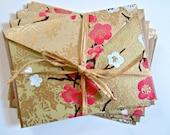 Pink & Gold Blossom Handmade Textured Stationery Card Set