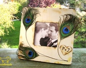 Personalized picture frame wood peacock feathers customizable rustic peacock wedding home decor