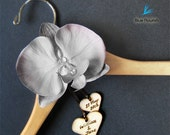 Personalized wedding dress hanger grey wedding silk orchid rustic wooden hearts custom engraved customized gown hanger