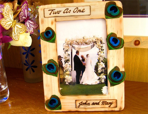 Peacock wedding picture frame wooden custom photo frames wood rustic country personalized