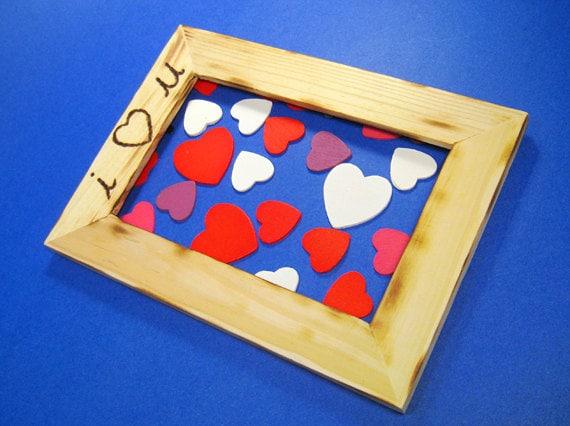 "Wooden picture frame wood frames ""I love you"" ""I heart u"" ""i heart you"" boyfriend girlfriend gift Valentines day anniversary gift"