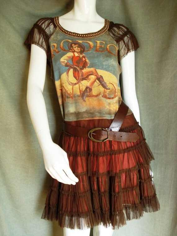 RESERVED Altered couture cowgirl mini dress Reconstructed  rodeo shirt  Upcycled summer dress
