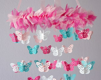Butterfly Nursery Mobile - Hot Pink & Aqua Butterfly Mobile, Photography Prop,  Baby Shower Gift