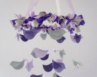 Modern Nursery Mobile- Birds in Purple, Lavender & Grey- Baby Shower Gift, Photographer Prop