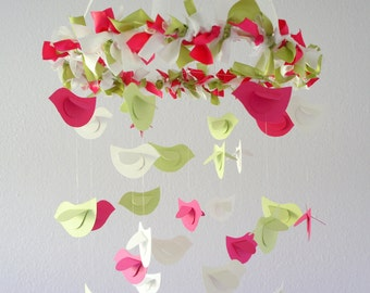Nursery Bird Mobile in Pinks Green & White- Nursery Mobile, Bird Nursery Decor, Baby Shower Gift