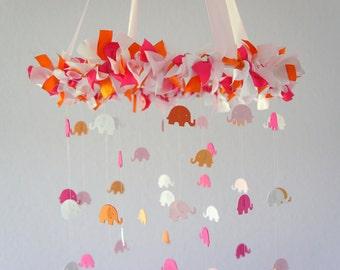 Pink Orange Nursery Mobile- Baby Girl Elephant Nursery Decor, Baby Shower Gift, Crib Mobile
