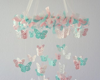 Pink Aqua Nursery Butterfly Mobile- Nursery Decor, Baby Shower Gift