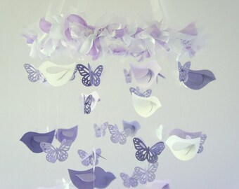 Butterflies & Birds Nursery Mobile, Baby Shower Gift- Lavender White Bird Butterfly Baby Girl Nursery Mobile Room Decor