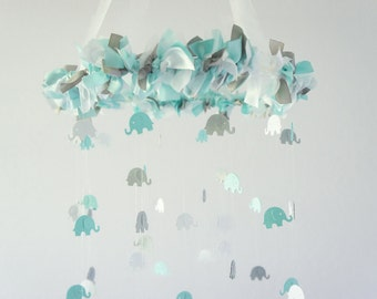 Baby Nursery Mobile in Aqua, Gray & White-Elephant Nursery Mobile, Baby Shower Gift, Photographer Prop