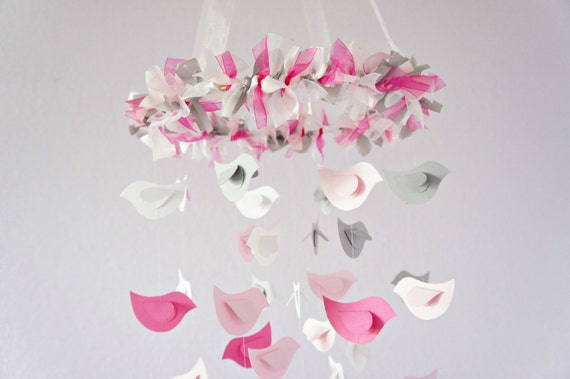 Pink & Gray Bird Nursery Mobile, Shower Gift, Photographer Prop
