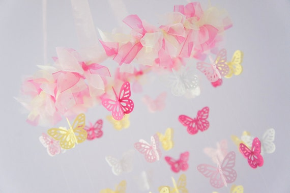 Pink Yellow Nursery Butterfly Baby Mobile, Photography Prop,  Baby Shower Gift