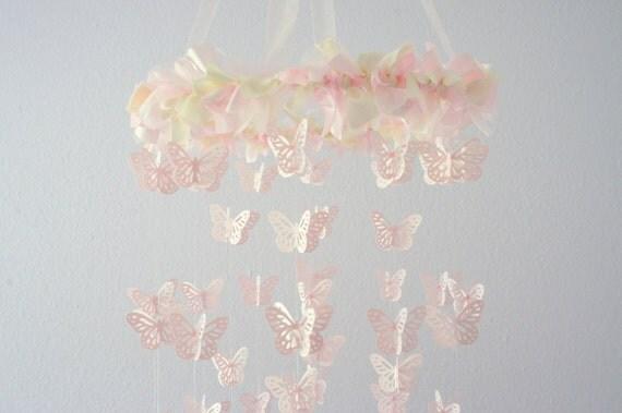 Pink Cream Nursery Butterfly Mobile Pink By Lovebuglullabies