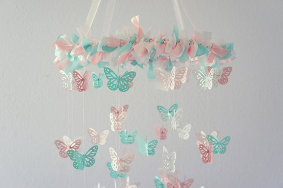 Pink Aqua Nursery Butterfly Mobile- Nursery Decor, Crib Mobile, Baby Shower Gift