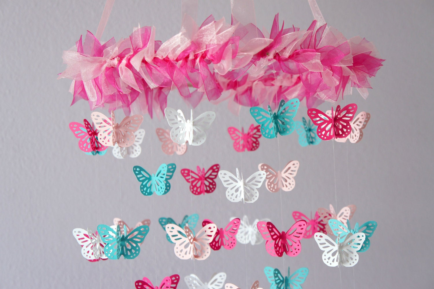 butterfly nursery mobile hot pink aqua butterfly mobile