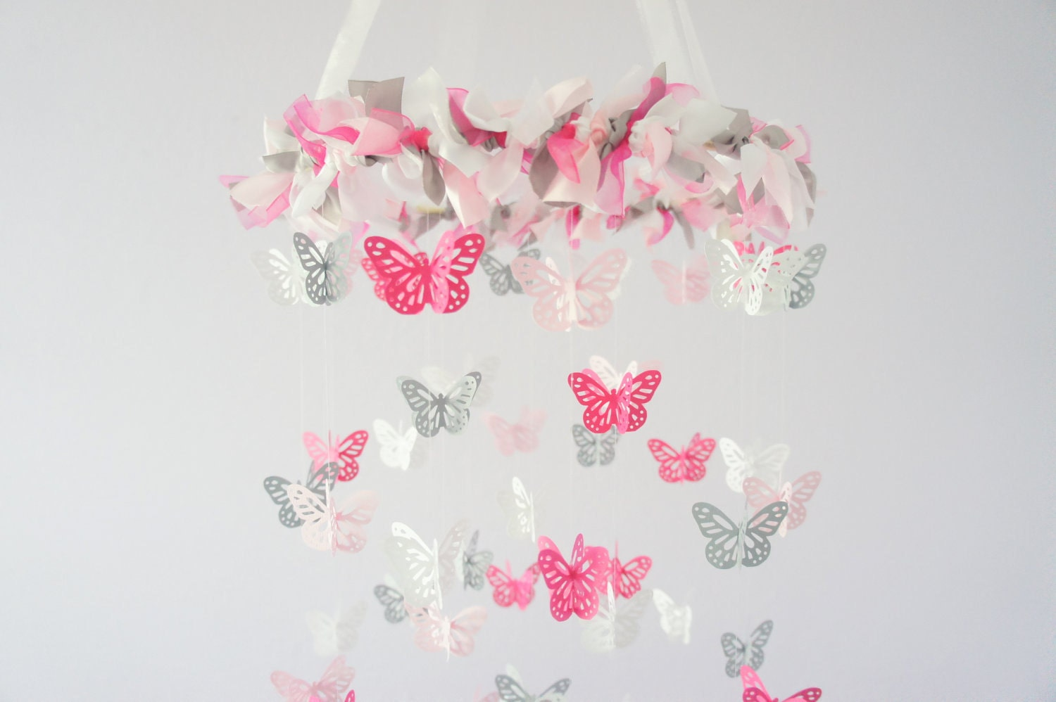 Pink gray nursery butterfly mobile photography prop baby for Baby mobile pink and grey