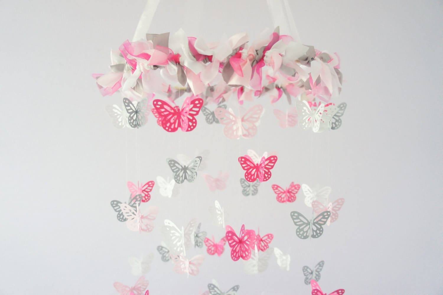 pink gray nursery butterfly mobile photography prop baby. Black Bedroom Furniture Sets. Home Design Ideas
