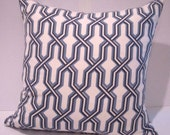 "22""x 22"" Quadrille Fabric Cotton Designer Pillow - Includes Down Insert"