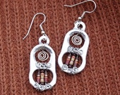 Industrial Chic Upcycled Earrings, Silver  Pull Tabs with Brown and Beige Resistors