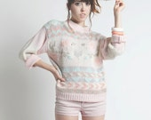 Vintage 80s Pastel Hand Knitted Pull Over Sweater in Medium to Large