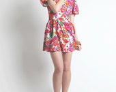Vintage 1960s Bright Colored Floral Print Poppy Themed Mini Dress