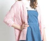Vintage 60s -70s Pastel Pink Knit Cardigan in Medium - Large