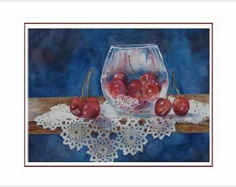 Cherry Delight Notecards, set of 6 with envelopes