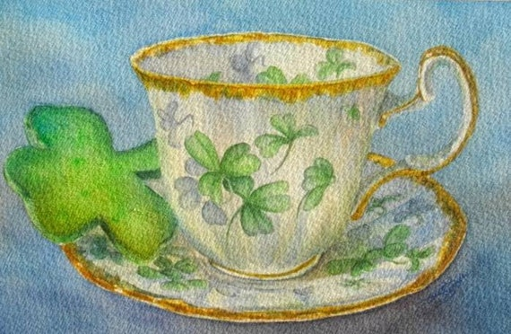 St. Paddy's Tea,  Matted Giclee' Print of Watercolour