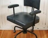 Office Swivel Chair - Vintage Industrial - Original Blue