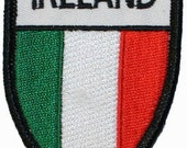 Country Flag Of Ireland Shield Embroidered Iron On Applique Patch FD