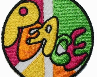 Peace Sign Hippie Iron On Applique Patch