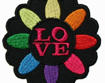 Love Peace Daisy Flower Power Iron On Applique Patch
