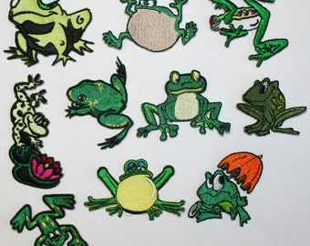 Lot of 10 Cute Little Frog Iron On Applique Patches