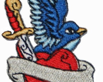 Tattoo Sparrow Swallow With Dagger Through Heart Embroidered Iron On Applique Patch