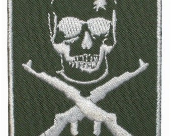 Skull Cross Rifles Iron On Applique Patch