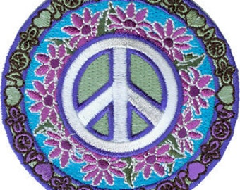 Peace Sign Daisy Flowers Embroidered Iron On Applique Patch