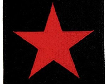 Red Star on Black Background Iron On Applique Patch