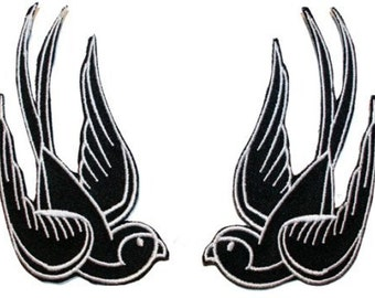 Black Tattoo Sparrow Swallow Biker Embroidered Iron On Applique Patch