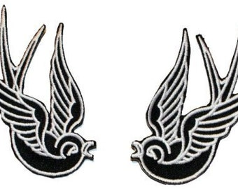 Black Tattoo Sparrow Swallow Biker Punk Black White Embroidered Iron On Applique Patch