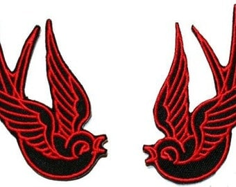 Red Black Tattoo Sparrow Swallow Biker Embroidered Iron On Applique Patch