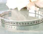 Hand Stamped Mommy Bracelet- Personalized Custom Jewelry - Sterling Silver Mommy Cuff with Names and Hearts - Grandmother Bracelet