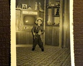 Little Gunslinger - Original 1950s Snapshot - Great Photo of Little Boy