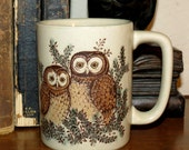 Vintage Owl Mug- Retro Hand Glazed Coffee Mug - Pair of Owls - High Quality