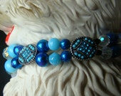 11 inch - Dbl Strand Beaded Dog Collar - Cobalt and Cornflower - Elegant