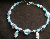 SALE Medium Collar - Pastel lampwork beads and pink accents - 12 inch
