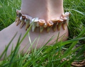 5 off SALE - Spiral Shell Spikes - anklet - 9.5 inch - natural color - earthy beach goddess